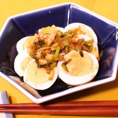 おつまみにピッタリ!ゆで卵の中華風葱ソースがけ