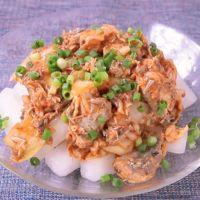 サバ缶とキムチの簡単大根サラダ