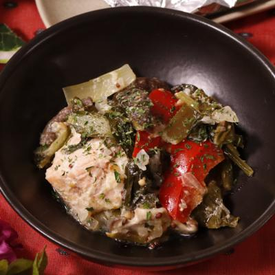 小松菜と鮭のマヨホイル焼き