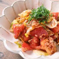 さっぱり トマトとレタスのキムチの和えサラダ