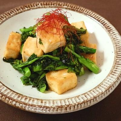 木綿豆腐と菜の花の中華炒め