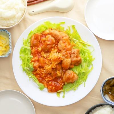 鶏たまのチリソース煮