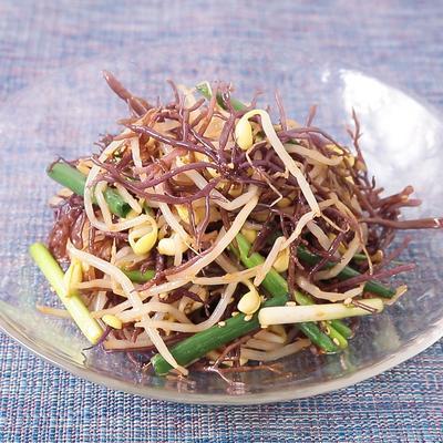 コリコリ食感 ふのりと豆もやしのナムル