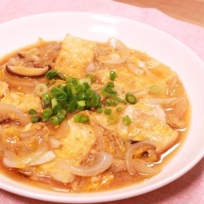 豆腐とたまねぎの甘辛卵とじ