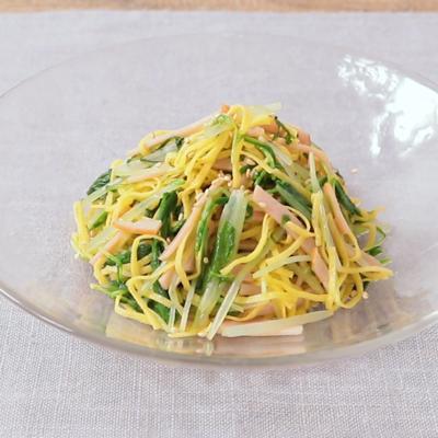 シャキシャキ水菜とハムの和え物