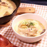 スキレットで作る 鶏肉とマッシュルームのクリーム煮