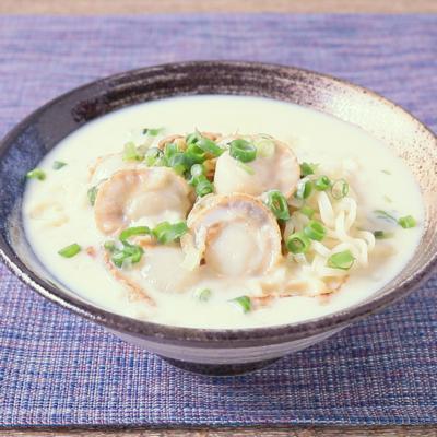 インスタント麺で作る コク旨ホタテ豆乳ラーメン