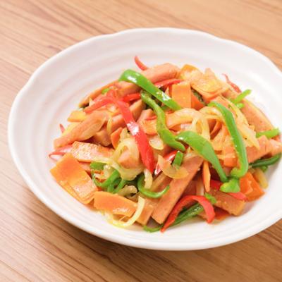 彩り野菜たっぷり ポークランチョンミートの野菜炒め