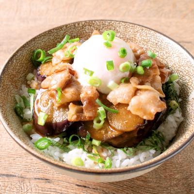 茄子と豚バラ肉の甘辛丼