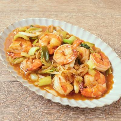 中華クラゲとエビのピリ辛炒め