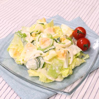 レタスとゆで卵のヨーグルトマヨサラダ