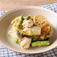 鶏ささみと野菜のゆず胡椒マヨ炒め