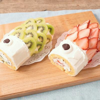 こどもの日に鯉のぼりロールケーキ