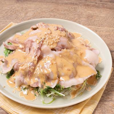 もやしでかさまし 豚バラと水菜の温サラダ