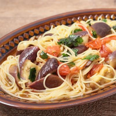 ミニトマトとナスのサラダスパゲティ