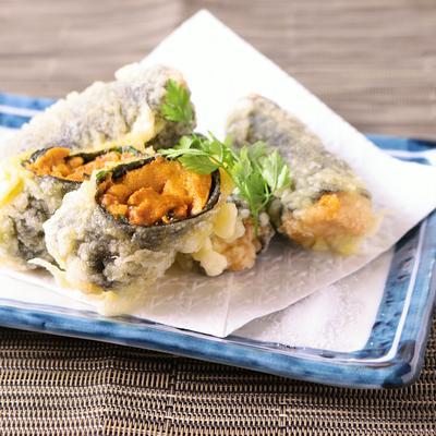 贅沢 ウニの海苔巻き天ぷら