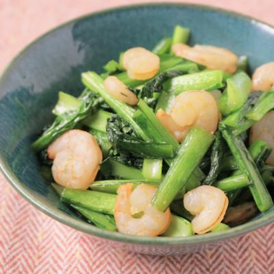 小松菜とえびの中華風炒め