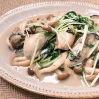 牡蠣と水菜のガリバタソテー