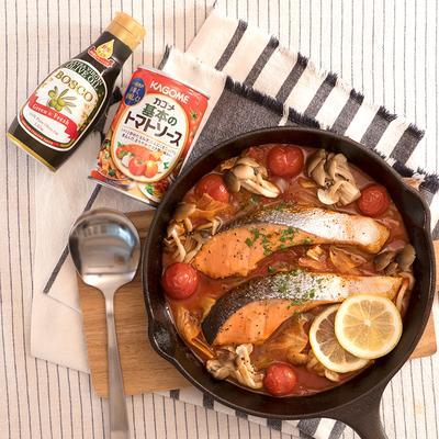 スキレットで作る!簡単鮭のトマトパッツァ