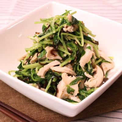 レンジで簡単 ささみと豆苗の塩昆布サラダ