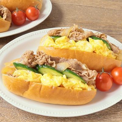 牛丼の具を使った 半熟卵のコッペパン