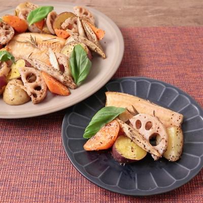 ほっけの干物とたっぷり根菜のグリル焼き