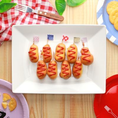 魚肉ソーセージで プチアメリカンドック