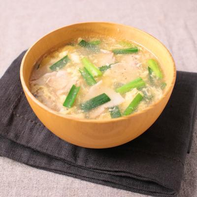 豚肉とニラの中華スープ