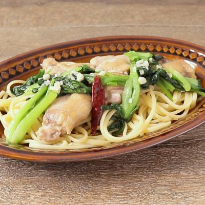 小松菜と鶏肉のペペロンチーノ
