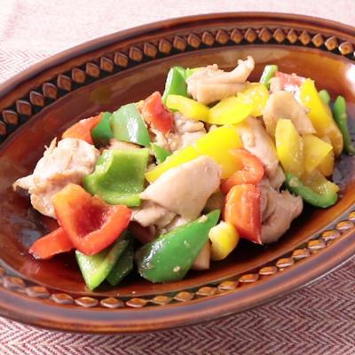 鶏肉とピーマンのカラフル中華炒め