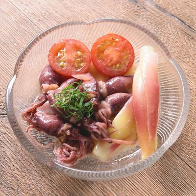 ホタルイカとトマトとミョウガの和風マリネ
