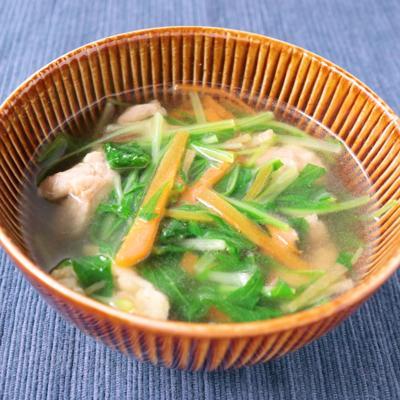 生姜たっぷり 水菜と鶏肉の中華スープ