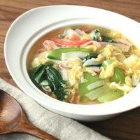 チンゲン菜とカニカマの卵生姜スープ