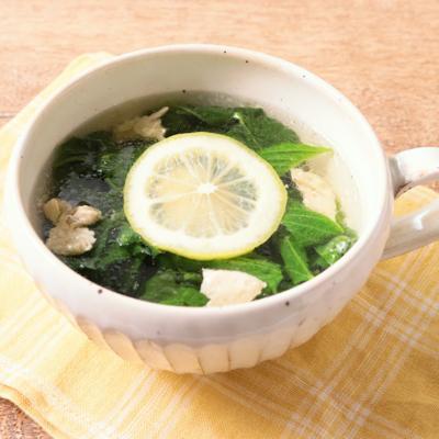 モロヘイヤとささみの塩レモンスープ