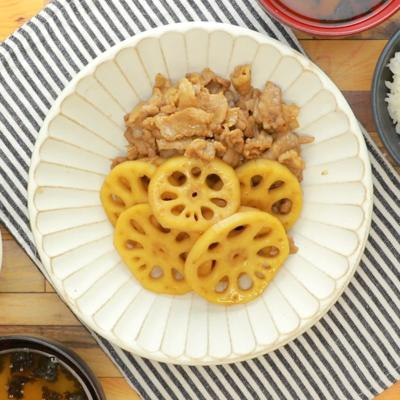 レンコンと豚肉の照り煮