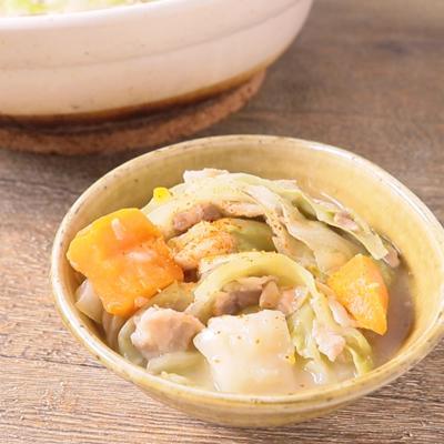 シチューリメイク キャベツと豚バラミルフィーユ鍋