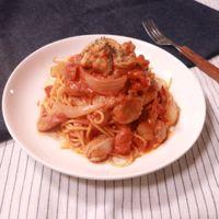 トマトと鶏肉のクリーミーパスタ