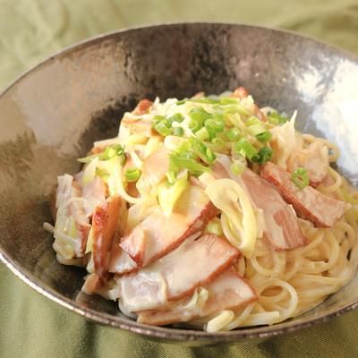 ねぎ焼き豚の和風クリームスパゲティ