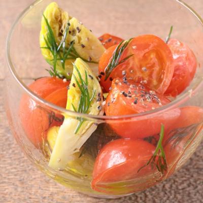 芽キャベツとミニトマトのハーブマリネ