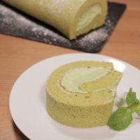ふわふわ 抹茶のシフォンロールケーキ