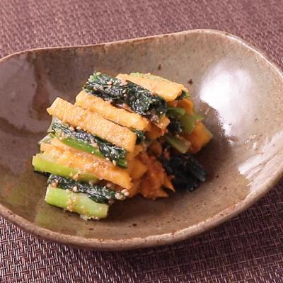 小松菜と柿の胡麻和え
