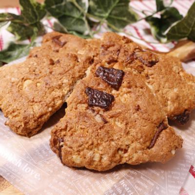 チョコナッツ&オートミールのザクザククッキー