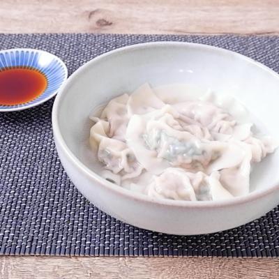 酢醤油で食べる 簡単水餃子