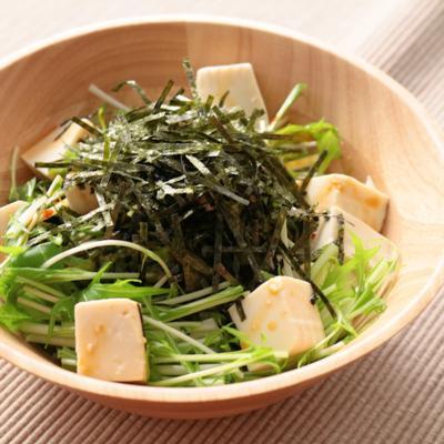 水菜と豆腐のピリ辛サラダ