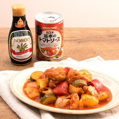 フライパンで10分!彩り野菜と鶏肉のトマト煮