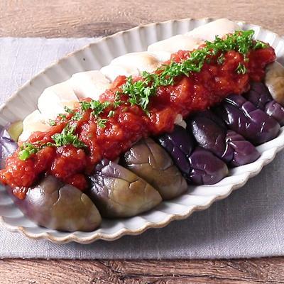 蒸し鶏と蒸しナスのトマトソースがけ