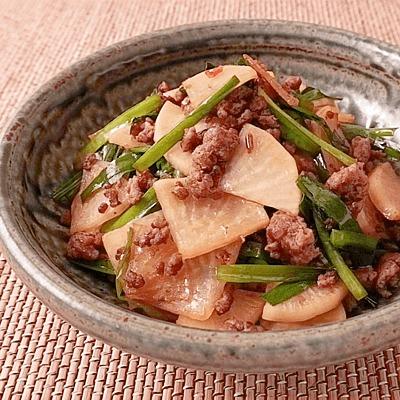 大根とニラのピリ辛ひき肉炒め