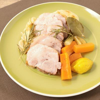 グリルパンで野菜と豚肉の蒸し焼き