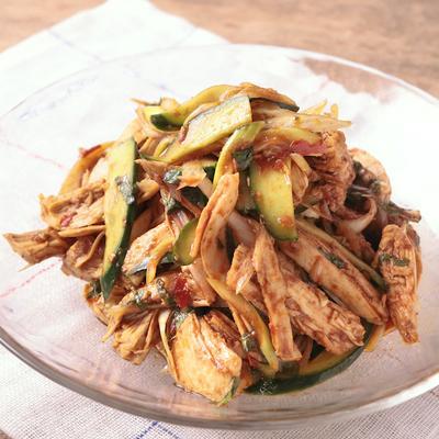 鶏むね肉と香味野菜の激辛和え