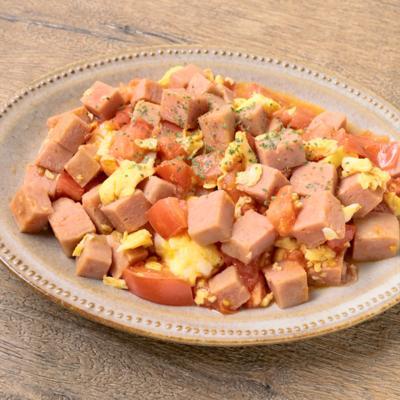 ポークランチョンミートとトマトの卵炒め